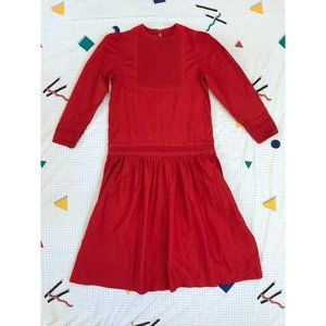 VINTAGE red cotton prairie dress with puff sleeves